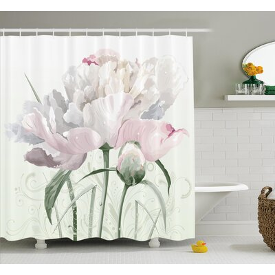Singleton Pink Roses Tulips Abstract Leaves With Petals and Buds Detailed Print Image Shower Curtain Size: 69