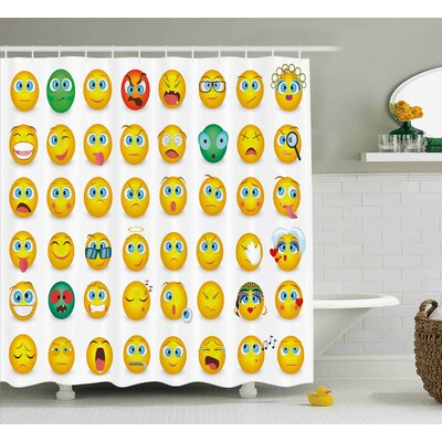 Marcy Emoji Cartoon Like Smiley Faces of Mosters Girls Couple Happy Sad Angry Furious Moods Print Shower Curtain Size: 69 W x 70 H
