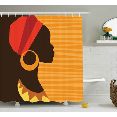 Haitam Girl Profile Silhouette With Earrings Grace and Elegance Icon Image Shower Curtain Size: 69 W x 70 H