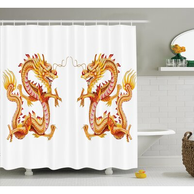 Yolanda Dragon Twin Fire Dragon Zodiac Statues Traditional Asian Art Chinese Themed Picture Print Shower Curtain Size: 69 W x 70 H