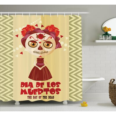 Jeannine Day of The Dead Spanish Dia De Los Muertos Print Girl With Gothic Makeup Shower Curtain Size: 69 W x 70 H