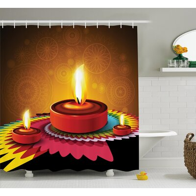 Rosales Diwali Paisley Background Indian Religious Festive Celebration Fire Candle Print Shower Curtain Size: 69 W x 70 H
