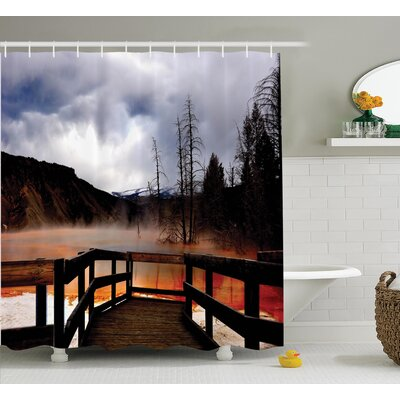 Crane Moody Cloudy Sky Over Hot Steamy Spring and Mountain Scenery Print Shower Curtain Size: 69 W x 70 H