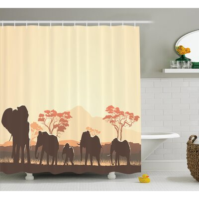 Atlantis African Wildlife Safari Big Animal Elephants Shower Curtain Size: 69 W x 75 H