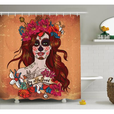 Kawamura Day of The Dead Dia De Los Muertos Spanish Mexican Festive Skull Art Shower Curtain Size: 69 W x 70 H