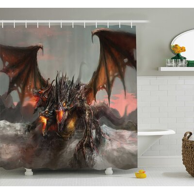 Todd Illustration of Three Headed Fire Breathing Dragon Large Monster Theme Shower Curtain Size: 69
