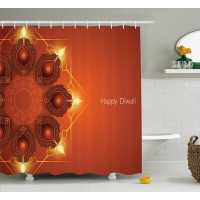 Murillo Diwali Indian Religious Sacred Celebration Happy Diwali Festive Paisley Pattern Print Shower Curtain Size: 69 W x 70 H