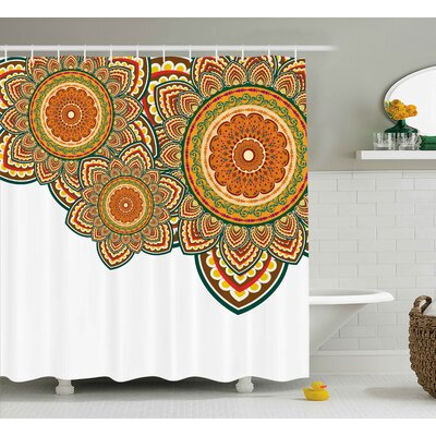 Asaph Indian Paisley Eastern Oriental Design With Floral Swirls and Circles Artwork Image Shower Curtain Size: 69 W x 70 H