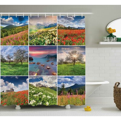 Mcdaniel Collage With Nine Different Square Framed Freshening Summer Rural Nature Print Shower Curtain Size: 69 W x 70 H