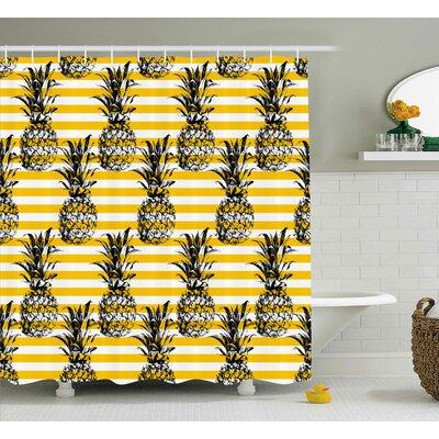 Kassandra Retro Striped Background With Pineapple Figures Vintage Hippie Graphic Shower Curtain Size: 69 W x 84 H