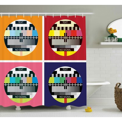 Isabel Modern Television Radio Channel Signal Digital Sign Shower Curtain Size: 69 W x 70 H