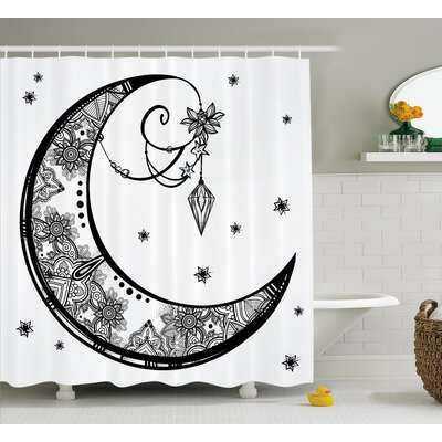 Leigh Tribal Paisley Floral Moon Crescent Gems Indian Astrology Inspired Design Print Shower Curtain Size: 69 W x 70 H