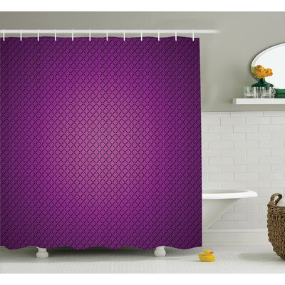 Valerie Purple Abstract Digital Diagonal Grid Geometric Diamond Symmetric Lines Futuristic Print Shower Curtain Size: 69 W x 70 H