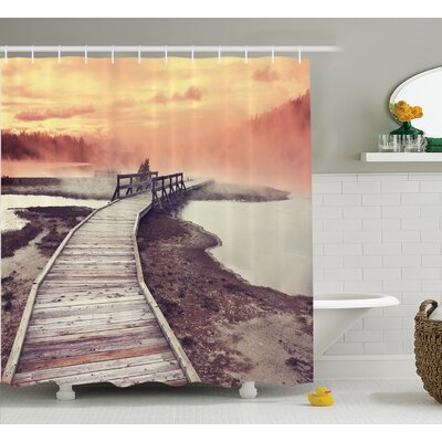 Ingram Wooden Pathway Deck to a Steamy Geyser Shower Curtain Size: 69 W x 70 H