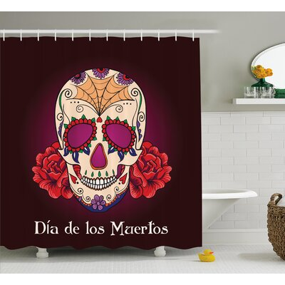 Jaime Day of The Dead Dia De Los Muertos Quote With Spanish Skull Dead Head Vivid Print Shower Curtain Size: 69 W x 70 H