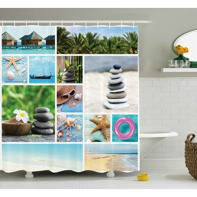 Winnie Spa Composition With Tropical Sandy Beach Ocean and Rock Views Relax Rest Image Shower Curtain Size: 69 W x 70 H