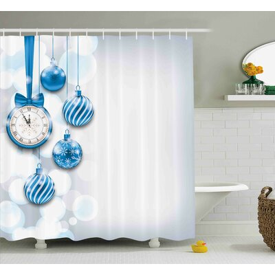 Jenifer New Year Theme a Clock and Glass Balls Illustration Christmas Decoration Pattern Shower Curtain Size: 69 W x 75 H