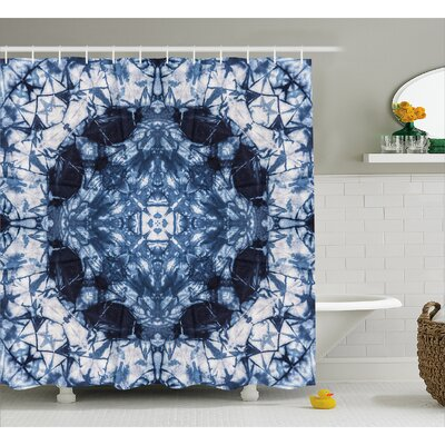 Catherine Tie Dye Microcosm Motif Generated With Digital Large Volume Active Rough Effect Shower Curtain Size: 69