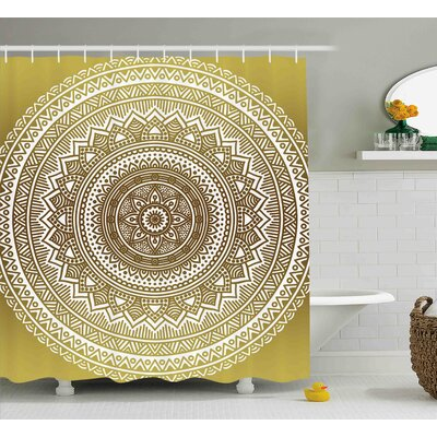 Elle Gold Ombre Mandala Flower Pattern Golden Queen Inspired Ethnic Prints Hippie Design Shower Curtain Size: 69 W x 70 H