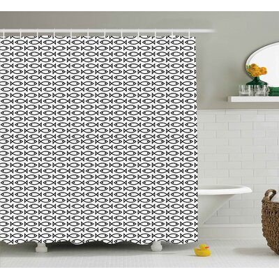 Katelyn Animal Minimalist Simplistic Abstract Fish Pattern Retro Artful Modern Trendy Print Shower Curtain Size: 69 W x 70 H