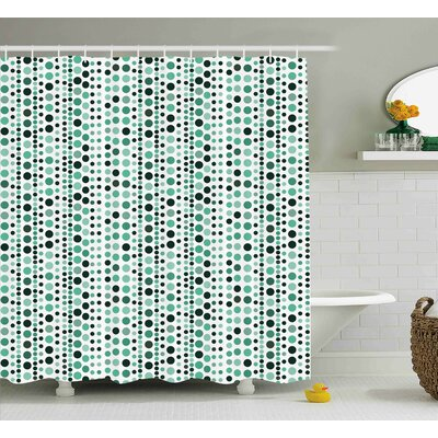 Thelma Modern Retro 60S 70S Vintage Geometrical Circles Dots Points Ombre Image Shower Curtain Size: 69 W x 70 H