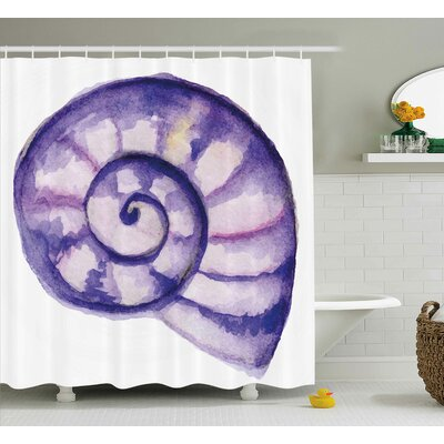 Mable Modern Sea Navy Life Creature Animal Shell Shower Curtain Size: 69 W x 70 H
