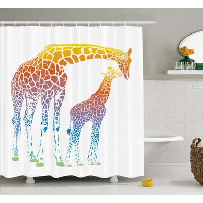 Katzer Giraffe Mom and Kid Giraffe Shower Curtain Size: 69 W x 70 H