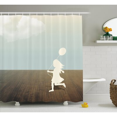 Nellie Silhouette of a Little Girl With Balloon Under Cloudy Sky Wooden Ground Shower Curtain Size: 69 W x 70 H
