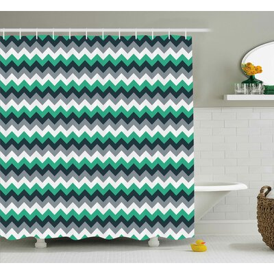 Jeanette Chevron Zig Zag Symmetric Arrows Striped Pattern Shower Curtain Size: 69 W x 70 H