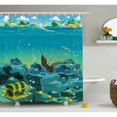 Enrique Cartoon Seascape Underwater With Treasure Galleon and Sunk Ship Pirate Kids Print Shower Curtain Size: 69 W x 75 H