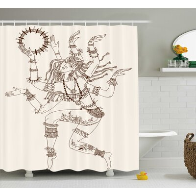 Nizar Yoga Dancing Multiple Armed God Eastern Ethnic Female Sublime Woman Deity Image Shower Curtain Size: 69