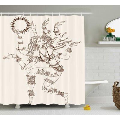 Nizar Yoga Dancing Multiple Armed God Eastern Ethnic Female Sublime Woman Deity Image Shower Curtain Size: 69 W x 70 H