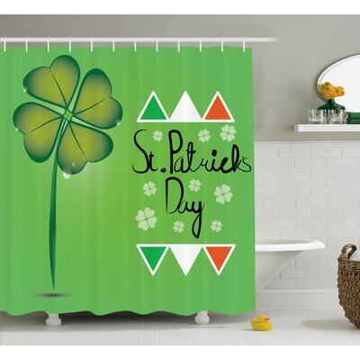 St. PatrickS Day March 17Th Celebration Large Shamrock Clover Leaf and Flags Art Shower Curtain Size: 69 W x 70 H