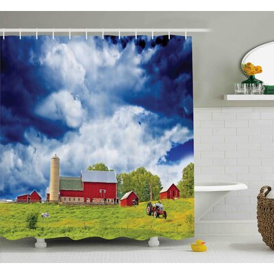 Thea Country Landscape Scenery View Warehouse Barn Clear Clouds Fields Photo Shower Curtain Size: 69 W x 70 H