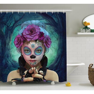 Horror Scary Clown Like Girls Showing Her Hands With Gloves An Flowers Shower Curtain Size: 69 W x 70 H