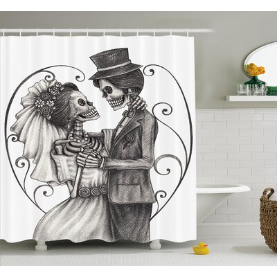 Gale Day of The Dead Love Skull Skeleton Marriage Eternal Love Spanish Festive Art Shower Curtain Size: 69 W x 70 H