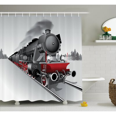 Janell Steam Engine Locomotive Red Black Train With Headlights on Steel Railway Track Graphic Print Shower Curtain Size: 69 W x 75 H
