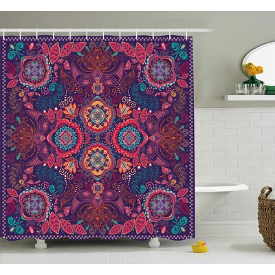 Dodson Paisley Classic Indian Asian Decor With Dots Leaves and Flowers Art Design Shower Curtain Size: 69 W x 70 H