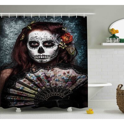 Lessie Day of The Dead Make Up Artist Girl With Dead Skull Scary Mask Roses Print Shower Curtain Size: 69 W x 70 H