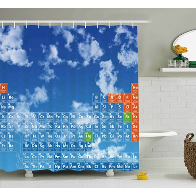 Diara Science Clear Bright Sky With Clouds and Chemistry Table For Kids Smart Student Print Shower Curtain Size: 69 W x 70 H