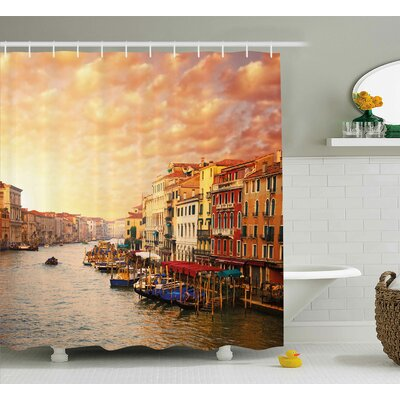 Bentonville Scenery Venezia Italian Decor Landscape With Old Houses Gondollas and Spikes Image Shower Curtain Size: 69 W x 70 H