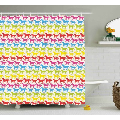 Francesca Horses Rainbow Colors Giddy Up Pony Animal Art Retro Design Pattern Abstract Wild and Free Shower Curtain Size: 69 W x 70 H