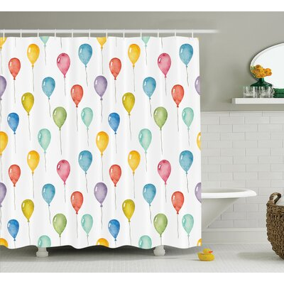 Bettie Colorful Balloons Birthday Party Decorations Celebration Festival Surprise Pattern Shower Curtain Size: 69 W x 75 H