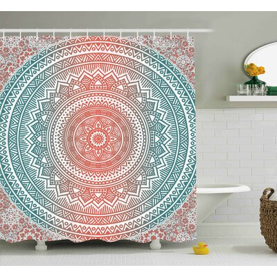 Arsdale Teal and Coral Ombre Mandala Art Antique Gypsy Stylized Folk Pattern Mystical Cosmos Image Shower Curtain Size: 69 W x 70 H