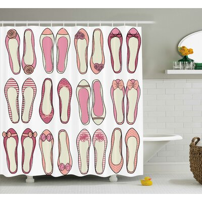 Trudy Girly  Ballerina Shoes With Ribbon Roses Stripes and Polkadots Feminine Room Decor Shower Curtain Size: 69 W x 75 H