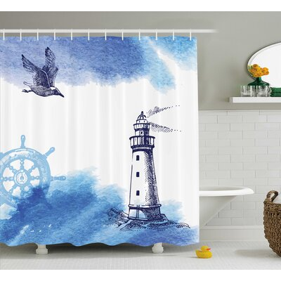 Dresden Nostalgic Watercolors With Gull Ancient Anchor Lighthouse Nautical Theme Shower Curtain Size: 69 W x 70 H