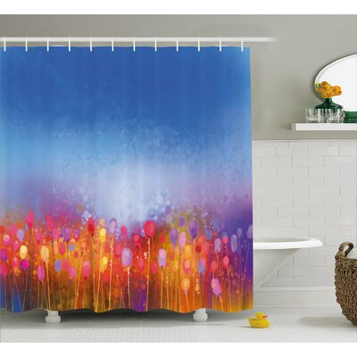 Welch Tulip Garden Under Blue Sky Shower Curtain Size: 69 W x 75 H
