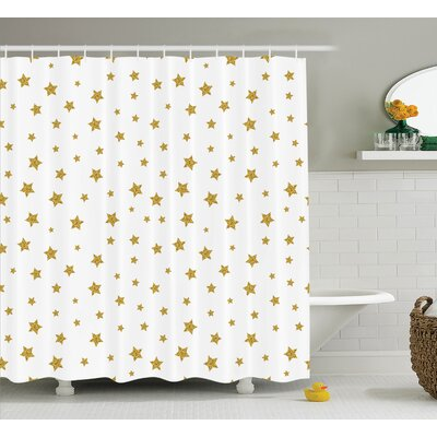 Felecia Golden Stars Pattern Creative Stylish Birthday Bachelorette Theme Decoration Shower Curtain Size: 69 W x 70 H