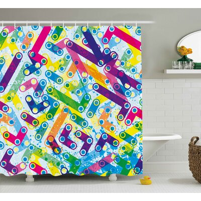 Leto Abstract Trippy Colorful Grunge Murky Background With Gradient Toned Unusual Forms Artwork Shower Curtain Size: 69 W x 70 H