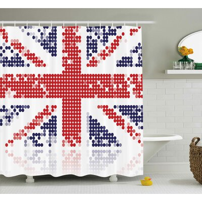 Tisha British Grunge United Kingdom Flag With Dot Circle Effects National English Display Shower Curtain Size: 69 W x 70 H